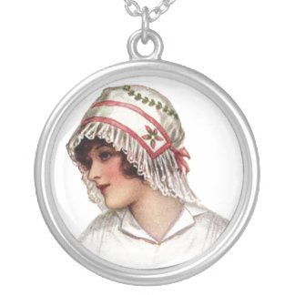 Vintage Lady in Embroidery & Lace Bonnet Necklace