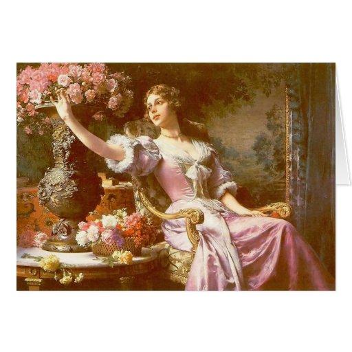 VIntage Lady in Pink, Elegant Floral Note Card