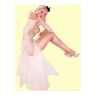 Vintage Lady in Pink Pin Up Girl Postcard