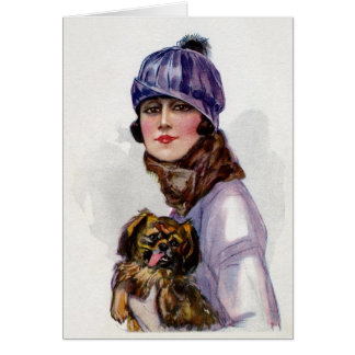 Vintage Lady in Purple with Her Dog, Card