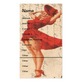 Vintage Lady in Red Dress Digital Art Business Card