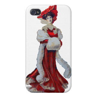 Vintage Lady in Red iPhone 4/4S Cases