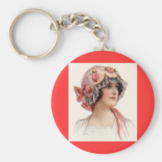 Vintage Lady in Silk Flowered Bonnet Keychain