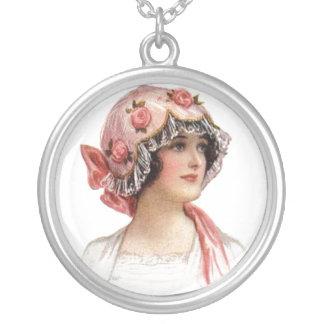 Vintage Lady in Silk Flowered Bonnet Necklace