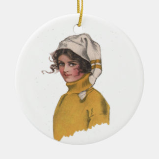 Vintage Lady in Sweater and Ski Cap Ceramic Ornament
