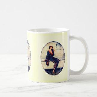 Vintage lady in the bathroom coffee mug