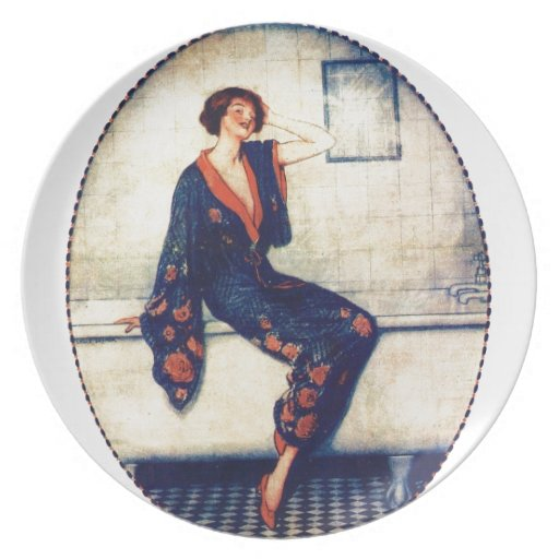 Vintage lady in the bathroom plates