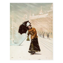 Vintage lady in the snow storm postcard