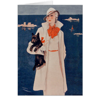 Vintage Lady in White and Dog by Ocean Note Card