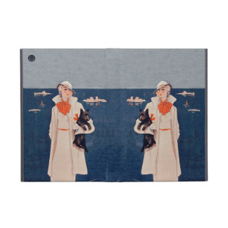 Vintage Lady In White Scotty Terrier Dog Ocean Case For iPad Mini