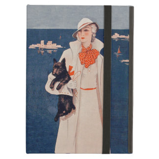 Vintage Lady In White Scotty Terrier Dog Ocean iPad Air Covers