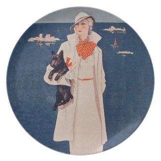 Vintage Lady In White Scotty Terrier Dog Ocean Melamine Plate