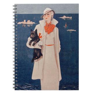Vintage Lady In White Scotty Terrier Dog Ocean Notebook