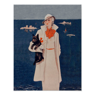 Vintage Lady In White Scotty Terrier Dog Ocean Print