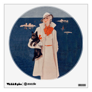 Vintage Lady In White Scotty Terrier Dog Ocean Wall Decal