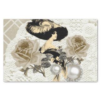 "Vintage Lady Ivory Lace Elegant Tissue Paper 10"" X 15"" Tissue Paper"