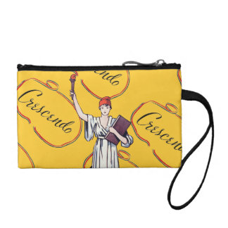 Vintage Lady Liberty Crescendo Music Typography Coin Purses