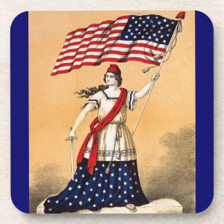 vintage lady liberty drink coaster