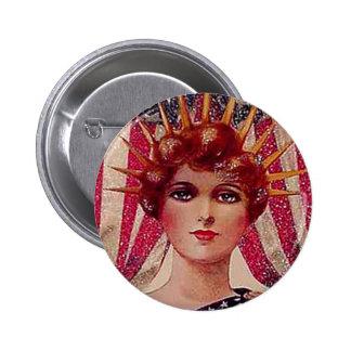 Vintage Lady Liberty July 4th Patriotic Postcard Pinback Button