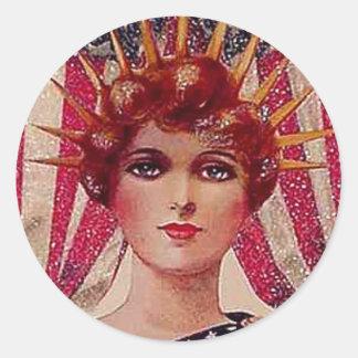 Vintage Lady Liberty July 4th Postcard Art Classic Round Sticker
