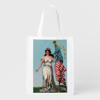 Vintage Lady Liberty Reusable Grocery Bag