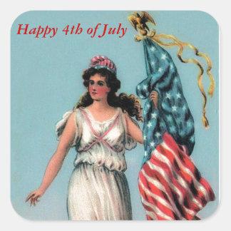 Vintage Lady Liberty Square Sticker