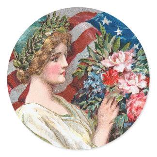 Vintage Lady Liberty_Sticker Classic Round Sticker
