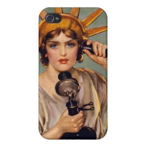 Vintage Lady Liberty Telephone iPhone Case Cases For iPhone 4