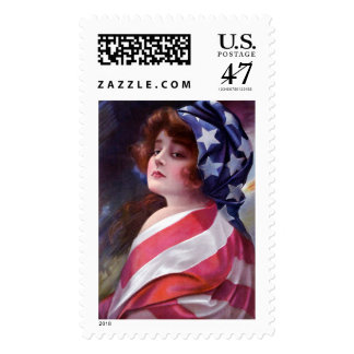 Vintage Lady Liberty Wrapped American Flag Stamps