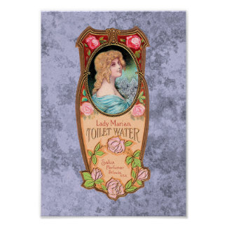 Vintage Lady Marian Toilet Water Label Poster