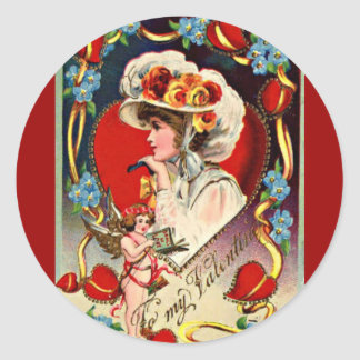 Vintage Lady My Valentine Round Sticker