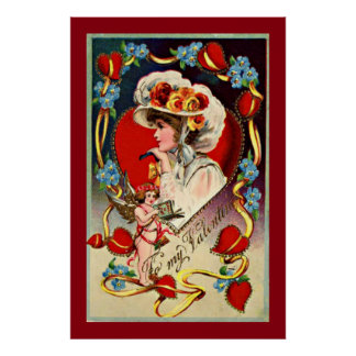 Vintage Lady My Valentine Value Poster Paper