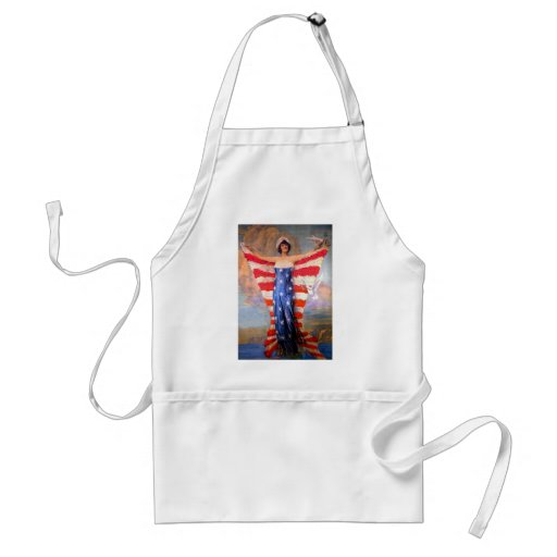 Vintage Lady of Liberty Patriotic American Flag Apron