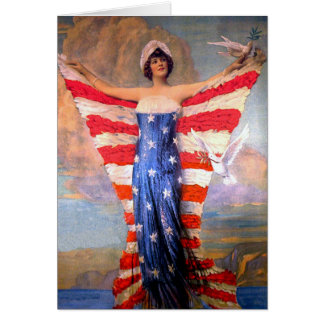 Vintage Lady of Liberty Patriotic American Flag Card