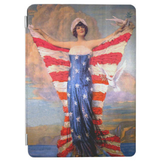 Vintage Lady of Liberty Patriotic American Flag iPad Air Cover