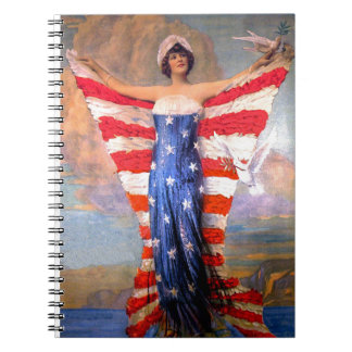 Vintage Lady of Liberty Patriotic American Flag Notebook