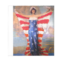 Vintage Lady of Liberty Patriotic American Flag Note Pads