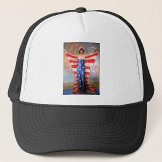 Vintage Lady of Liberty Patriotic American Flag Trucker Hat