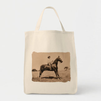 Vintage Lady on Horse Grocery Tote Bag