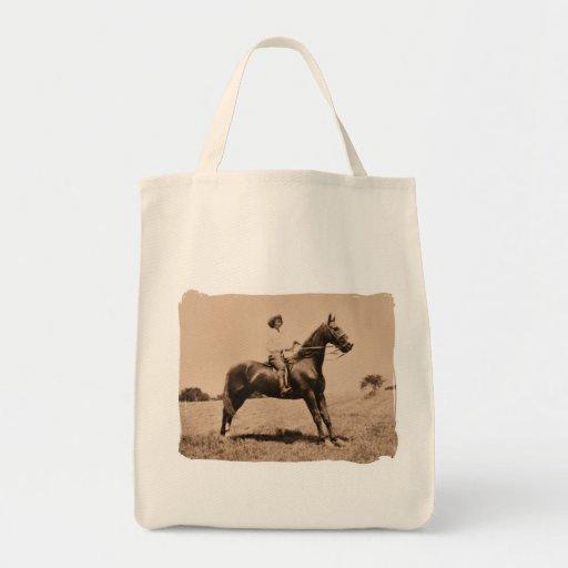 Vintage Lady on Horse Tote Bag