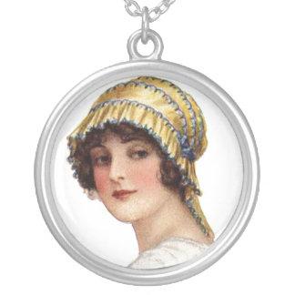 Vintage Lady Picot Ribbon Bonnet Necklace
