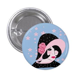 vintage lady pinback button