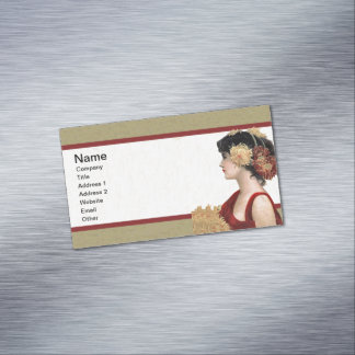 Vintage Lady Red Dress Big Pretty Flowers Business Card Magnet