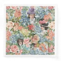 Vintage Lady Retro Botanical Flower Pattern Paper Dinner Napkin
