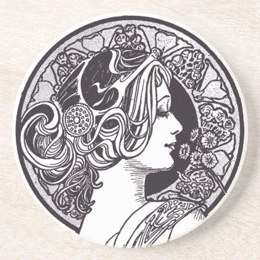 Vintage lady sandstone drink coaster zazzle - Sandstone drink coasters ...