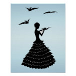 Vintage Lady Silhouette Love Letter Doves Poster