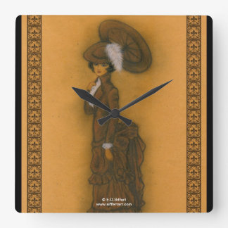 Vintage Lady Square Wall Clock