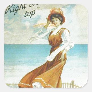 Vintage lady, The master Polish advert Square Sticker