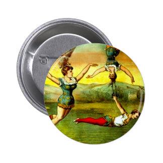 Vintage Lady Trapeze Acrobat Circus Act Poster Art Pinback Button