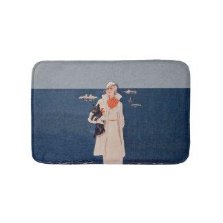 Vintage Lady White Suit Scotty Terrier Dog Ocean Bathroom Mat